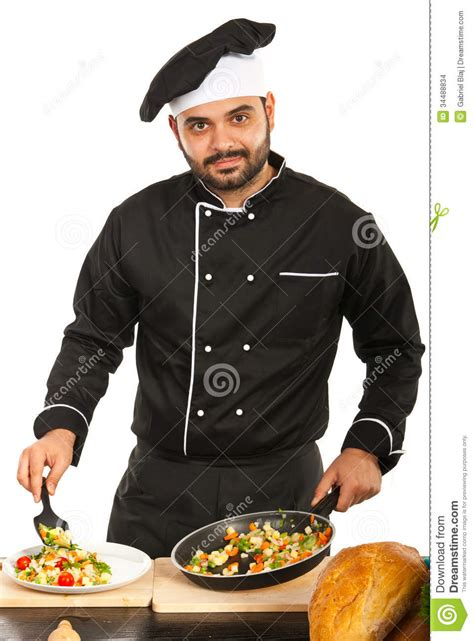 Chef Male Garnish Vegetables Stock Images  Image 34488834