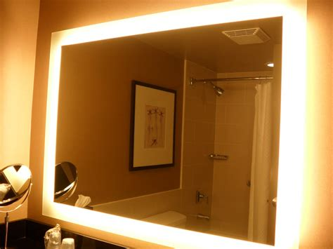 rectangle bathroom wall mirror with lighted frame of