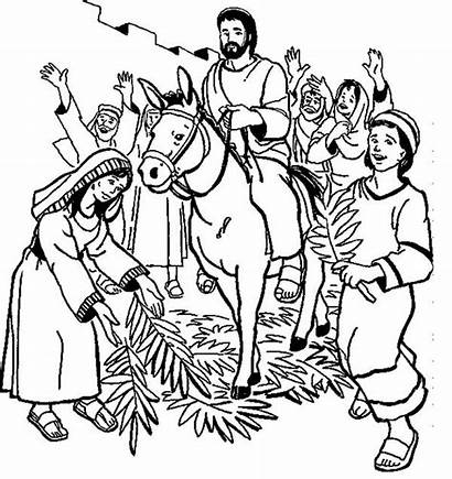 Palm Sunday Coloring Pages Hosanna Jesus Children