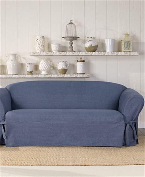 denim sofa slipcover 2 piece sure fit authentic denim one piece sofa slipcover