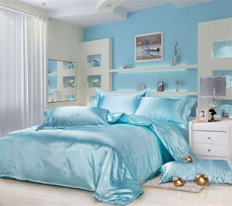 silk queen bedding quilt duvet cover sets light blue