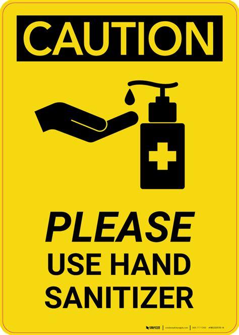 Caution: Please Use Hand Sanitizer with Icon Portrait