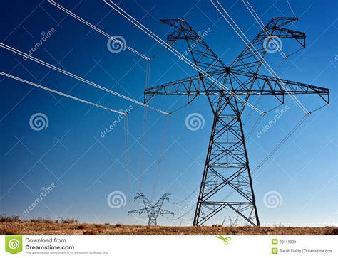 high voltage power transmission towers royalty  stock