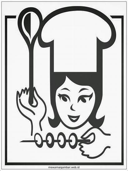 Gambar Chef Mewarnai Hitam Putih Topi Profesi