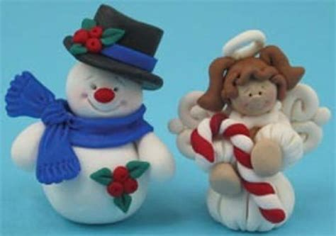 polymer clay snowman  angel ornaments