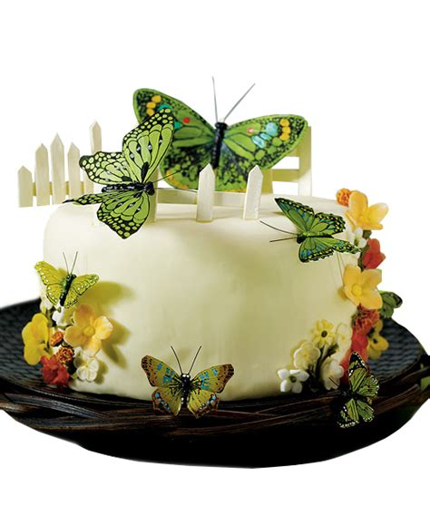 hand painted  blue butterfly cake decoration