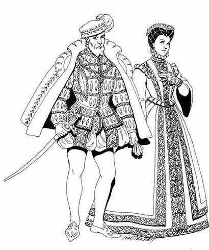 Renaissance Costume Coloring Pages Printable Clothing Costumes