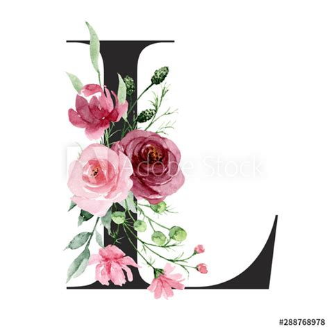 floral alphabet letter   watercolor flowers  leaf monogram initials perfectly
