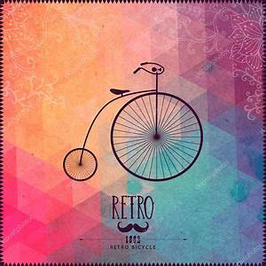 Retro bicycle on hipster background made of triangles with ...