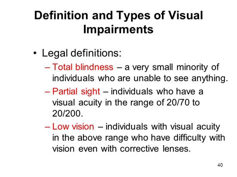 definition of legally blind educating exceptional learners ppt