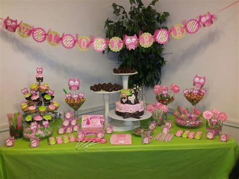 My Owl Theme Babyshower Candy Buffet Table Party Ideas