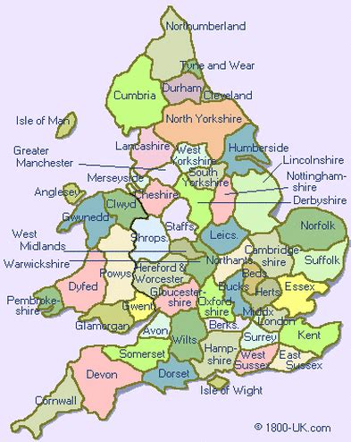 England and Wales Counties Map