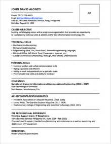 resume format for ojt information technology students should know sle resume format for fresh graduates one page format jobstreet philippines