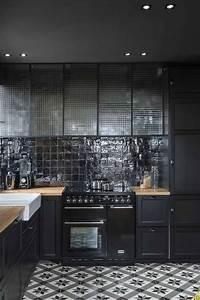 cuisine noir cuisine kitchen cocina kuchen With kitchen cabinets lowes with saint maclou papier peint