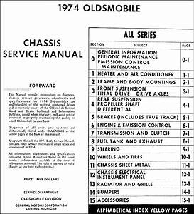 1974 Olds Shop Manual Oldsmobile Service Repair Cutlass