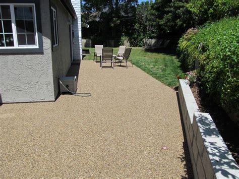 covered   ugly  concrete patio  pebble epoxy