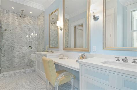 white double vanity with marble countertops traditional
