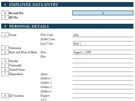 employee  excel template hr spreadsheets