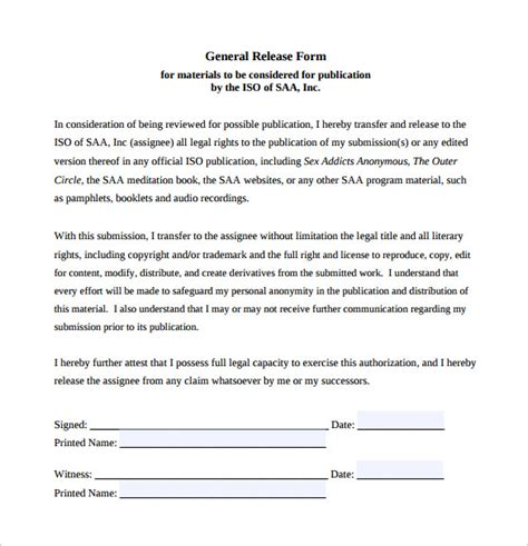 sample general release forms   sample templates