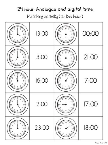 24 Hour Analogue Digital Clock Time Matching Activities By Hoppytimes  Teaching Resources Tes