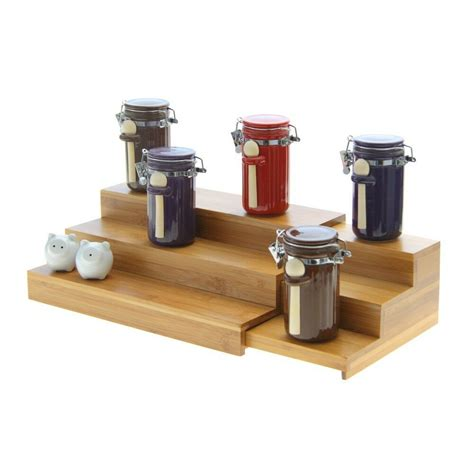 Step Spice Rack by Bamboo Adjustable Cupboard Organiser Kitchen 3 Step Shelf