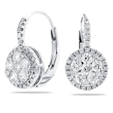 14k white gold lever back earrings with round