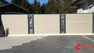 Palissade De Jardin : cloture gabion avec alternance des palissades en bois ~ Melissatoandfro.com Idées de Décoration