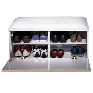 Banc Meuble Chaussure : banc chaussures blanc 43 x 85 x 39 cm achat vente ~ Teatrodelosmanantiales.com Idées de Décoration