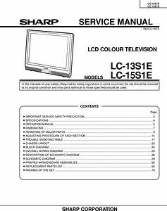 Sharp Lc 13s1e  15s1e Service Manual   S Manuals Com