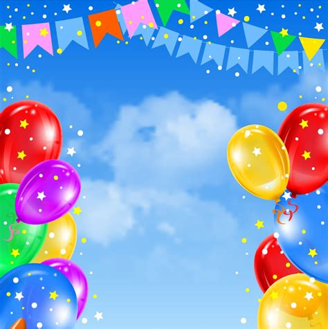 xft ight sky blue easter  birthday photography backdrops printed  multi colored balloons