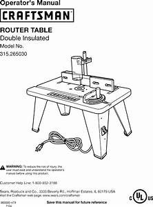 Craftsman 315265030 User Manual Router Table Manuals And