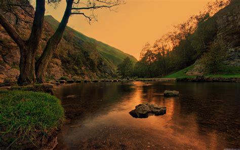 Free Sunset Mountain Lake Landscape Hd Desktop Wallpapers