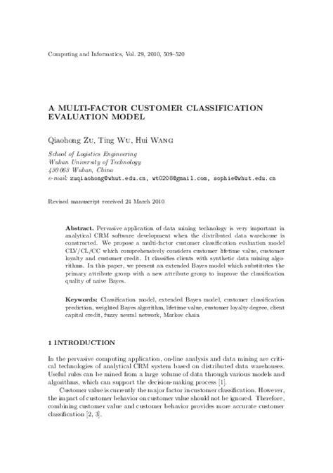 A Multi-factor Customer Classification Evaluation Model