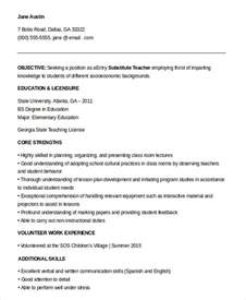 entry level sle substitute resume substitute resume exle 5 free word pdf documents free premium templates