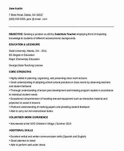 9 substitute teacher resume templates pdf doc free for Entry level teacher resume