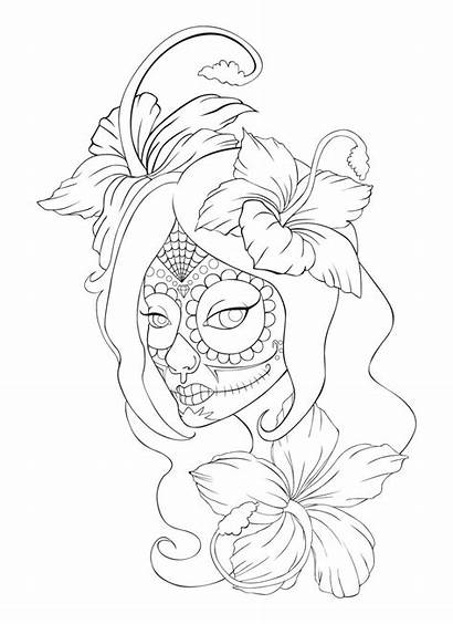 Skull Tattoo Sugar Coloring Lineart Deviantart Anime