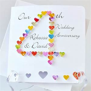 4th Wedding Anniversary Card - Handmade - Personalised ...