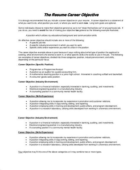 sle resume objective exle 7 exles in pdf
