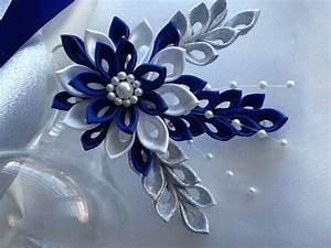 Hair Clip Royal Blue Cobalt Blue Dark Blue White