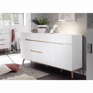 Buffet Scandinave Blanc Et Bois : buffet scandinave blanc et bois 193 cm cbc meubles ~ Melissatoandfro.com Idées de Décoration