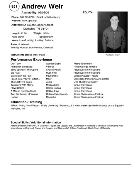 18489 theatrical resume template acting resume template sle http topresume info