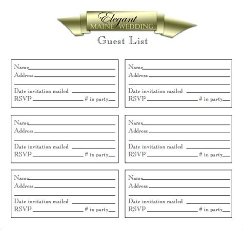 guest list samples   word excel