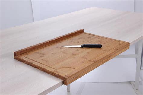 cuisine escamotable planche de travail en bambou grand modèle avec rebord tom press