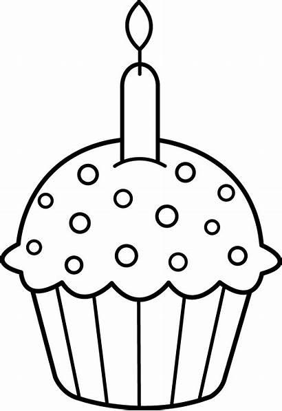 Cupcake Birthday Clipart Clip Coloring Border Cupcakes