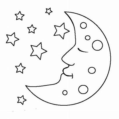 Moon Coloring Clipart Sleeping Pages Clip Star
