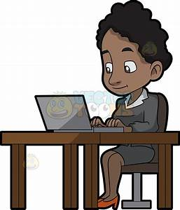 A Black Woman Sitting At Her Desk Using A Laptop Computer ...
