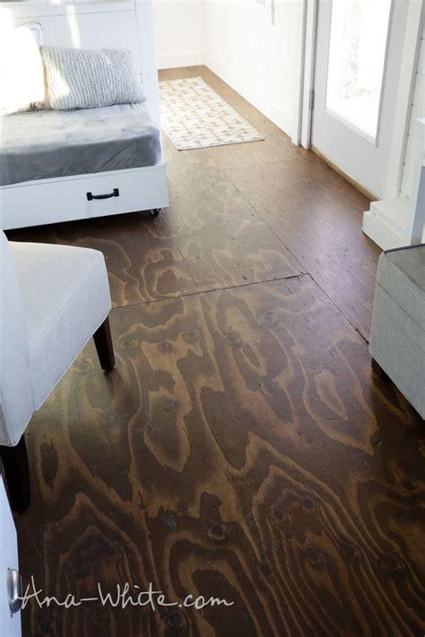 videohow  stain plywood floor subfloor flooring tiny house build episode  easy diy