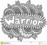 Warrior Coloring Adults Word Mandala Doodle Illustration sketch template