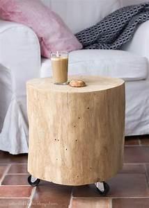 Baumstamm Als Tisch : holzklotz eichenstamm beistelltisch diy holz table ~ Watch28wear.com Haus und Dekorationen