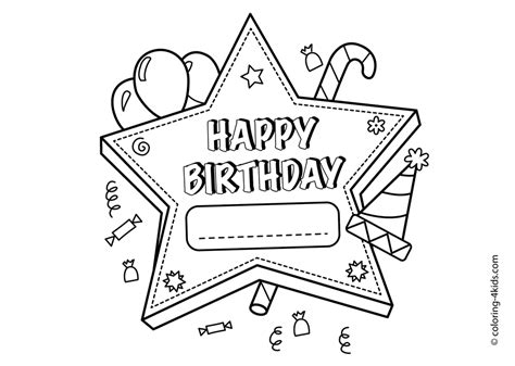 Happy Birthday Coloring Pages 2019